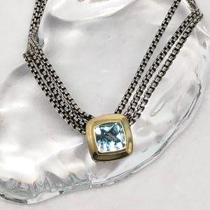 DAVID YURMAN Triple Strand Blue Topaz Necklace